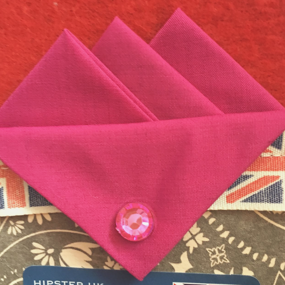 Pink (Bright Pink) Three Point Pocket Hankie & Pin